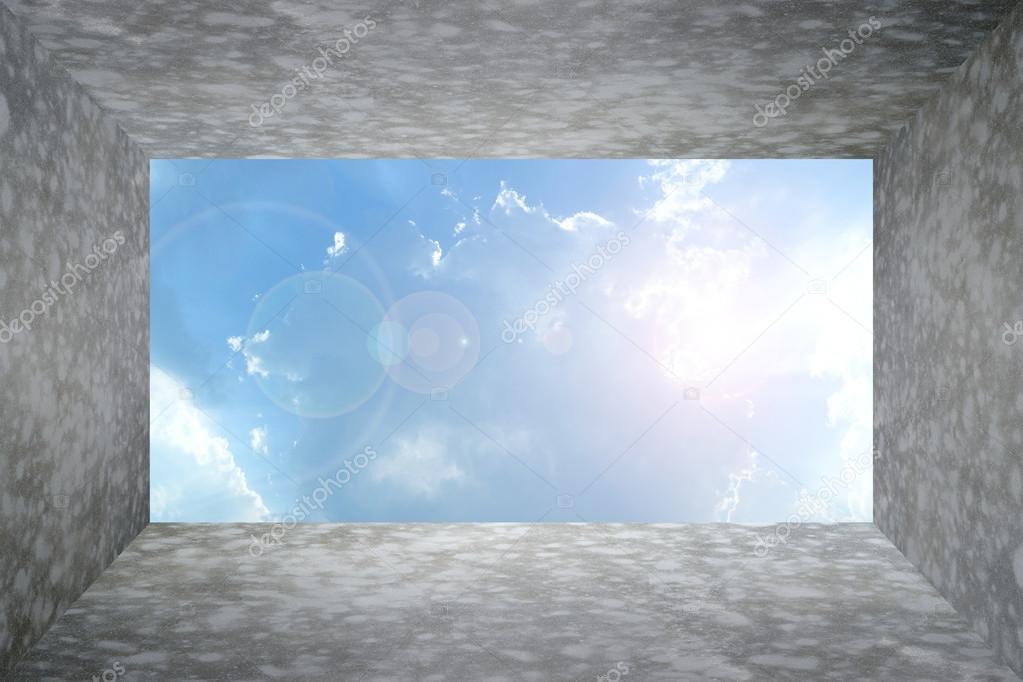Gepolijst blote concreet kamer en hemel u stockfoto pongmoji