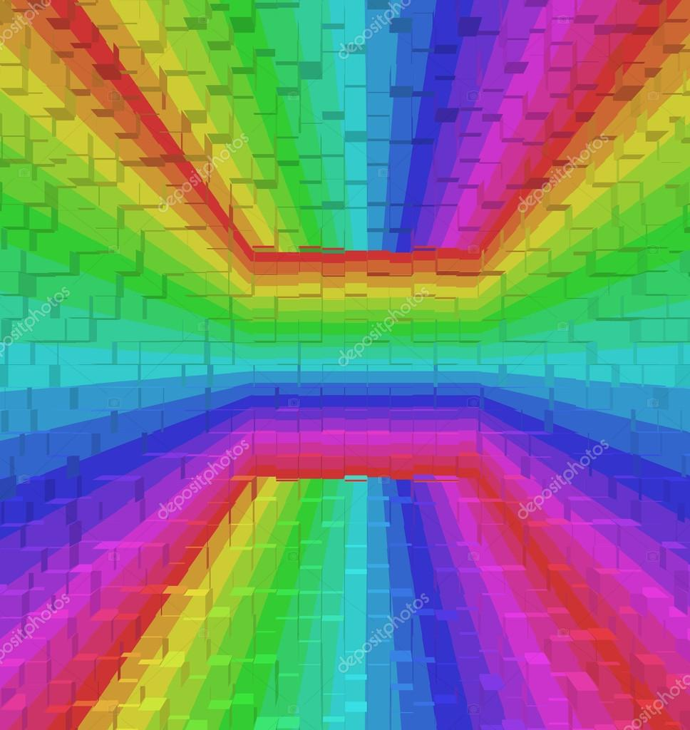 Colorful Rainbow Abstract Background 3d Block Style Stock