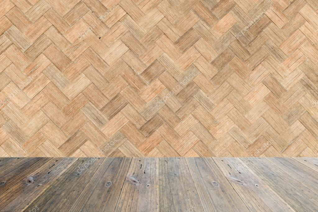 Holz Terrasse Und Webart Bambus Wand Textur Stockfoto C Pongmoji