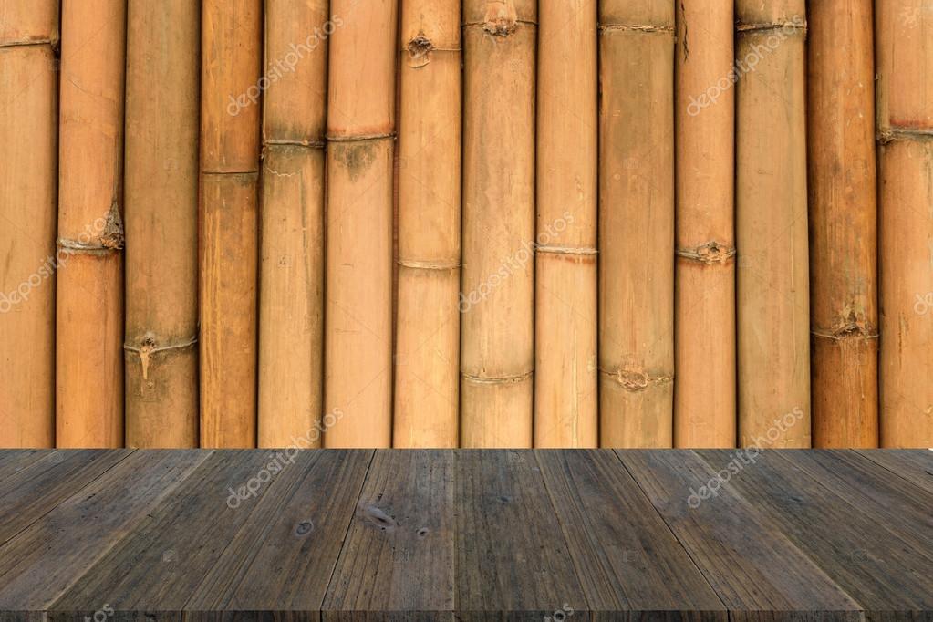 Holz Terrasse Und Bambus Wand Textur Stockfoto C Pongmoji 85710380