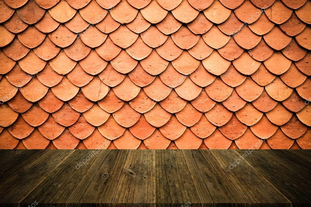 Terraza De Madera Y Techo De Tejas Textura Estilo Vintage
