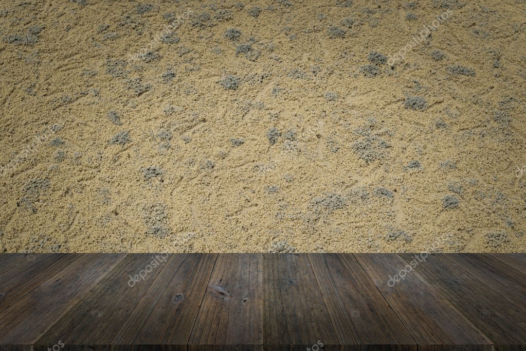 Amazing Sand Texture Surface With Wood Terrace U2014 Stock Photo
