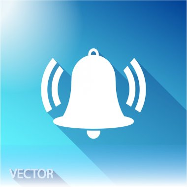 Bell icon, flat vector design stock vector