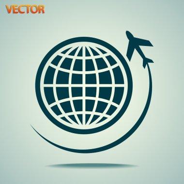 Travel on plane around the world icon