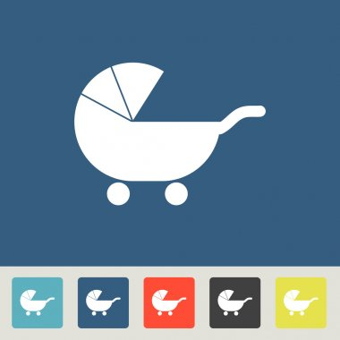 Baby Carriage Silhouette icon set