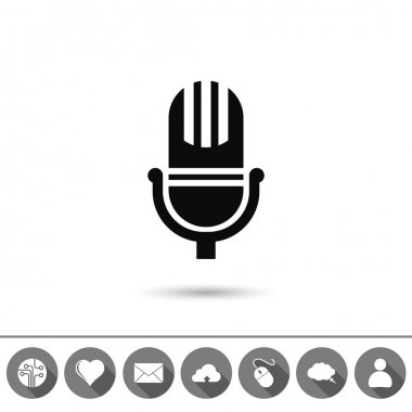 Microphone icon,flat design illustration stock vector