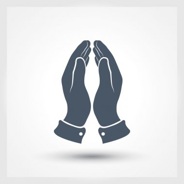 Praying hands icon, vector illustration. Flat design style stock vector