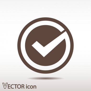 Confirm icon. Flat design style