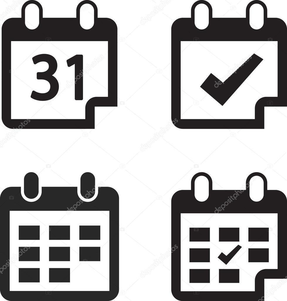 Calendar icon set  Flat design style
