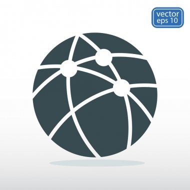 Global technology or social network  icon, vector illustration.