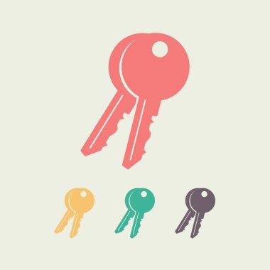 Key  icon, vector illustration. Flat design style