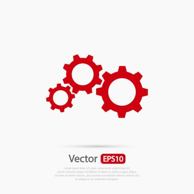 Gears icon, Flat design