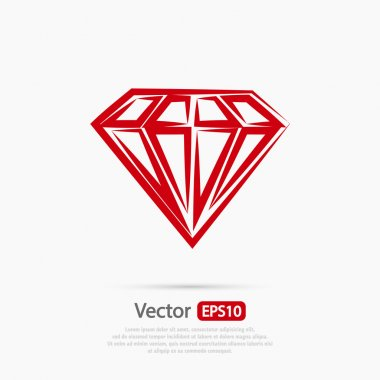Diamond icon, Flat design