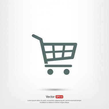 Shopping basket icon, vector illustration. Flat design style stock vector