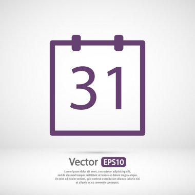 Calendar icon,  Flat design style