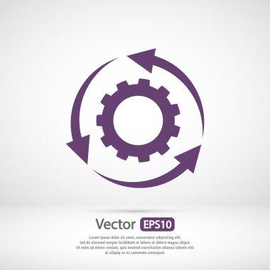 Gear icon. Flat design style