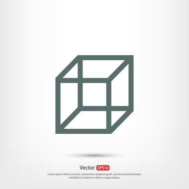 Cube icon,  Flat design