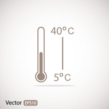 Thermometer icon, flat design clip art vector