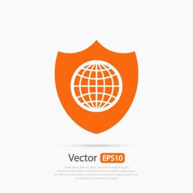Shield icon. Flat design style