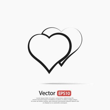 Hearts icon, vector flat design clip art vector