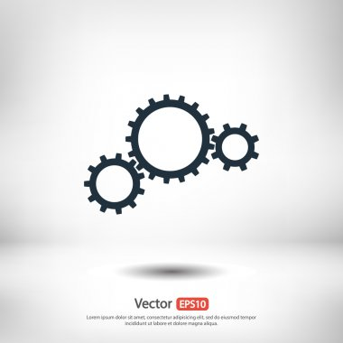 Gears icon, Flat design style