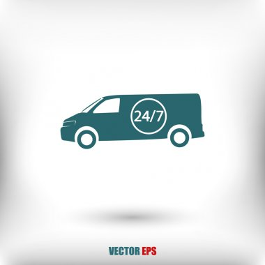 Car 24 hours delivery icon