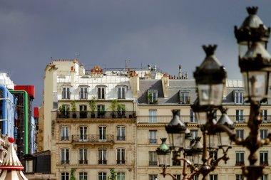 Line of street lamps in Paris, romantic city.