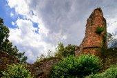 Fotografie Alte mittelalterliche Festungsruinen von Schloss Landsberg im tiefen Wald