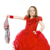 Fotografie Young cinderella dressed in red with dirty cloth