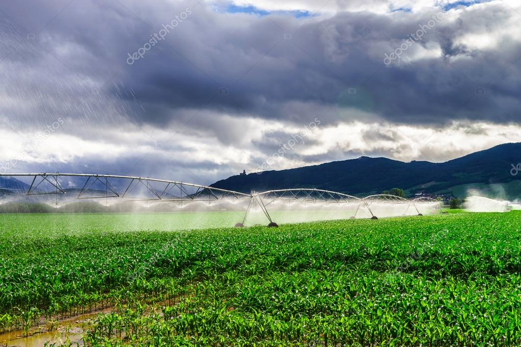 Auto irrigation systems on french rural fields. Agricultural con