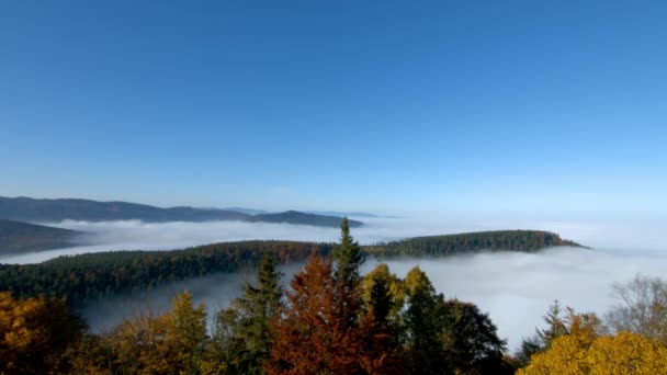 Ocean of fog movement under the camera. Great overcast over Alsace. Panoramic view from top of the mountain. Fog sea under foot.