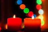 Birning svíčka na pozadí nový rok bokeh