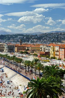 Summer beach in Nice, overview from high point