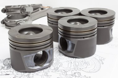 Pistons and connecting rods lie on the plane of the crank mechanism of an internal combustion engine