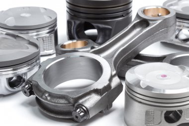 connecting rods and pistons, engine parts. elements of the crank mechanism isolated on a white background