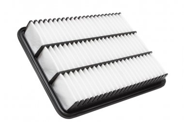 Flat engine air filter in a plastic case on a white background