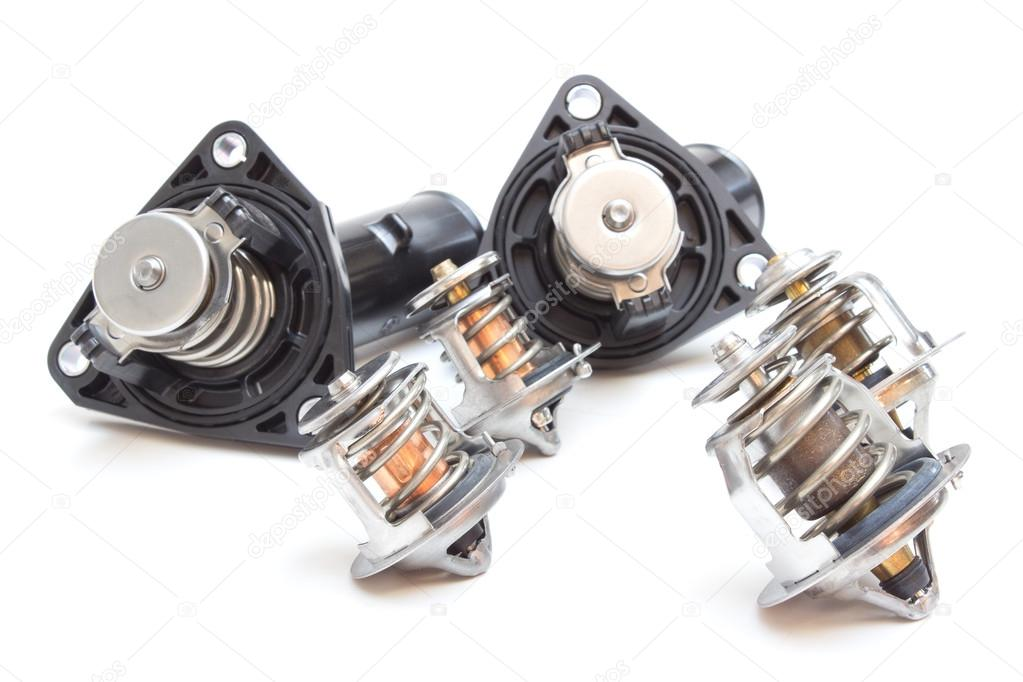 Parts of the car engine. Thermostat engine cooling system of the ...