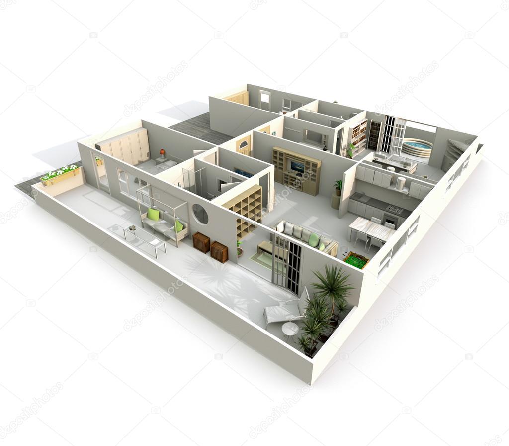 Rendering 3d interni di vista obliqua pespective arredato for 3d interni