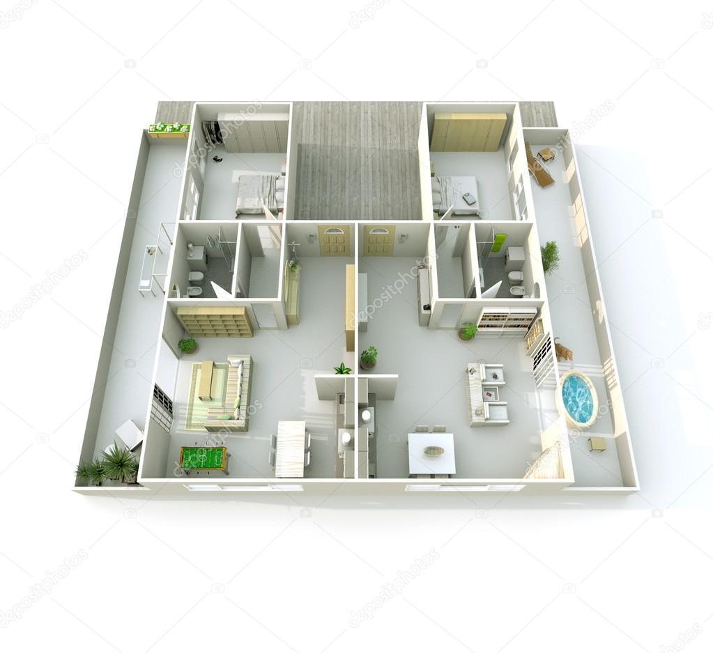 Vista di prospettiva 3d rendering di interni di senza for Rendering 3d interni