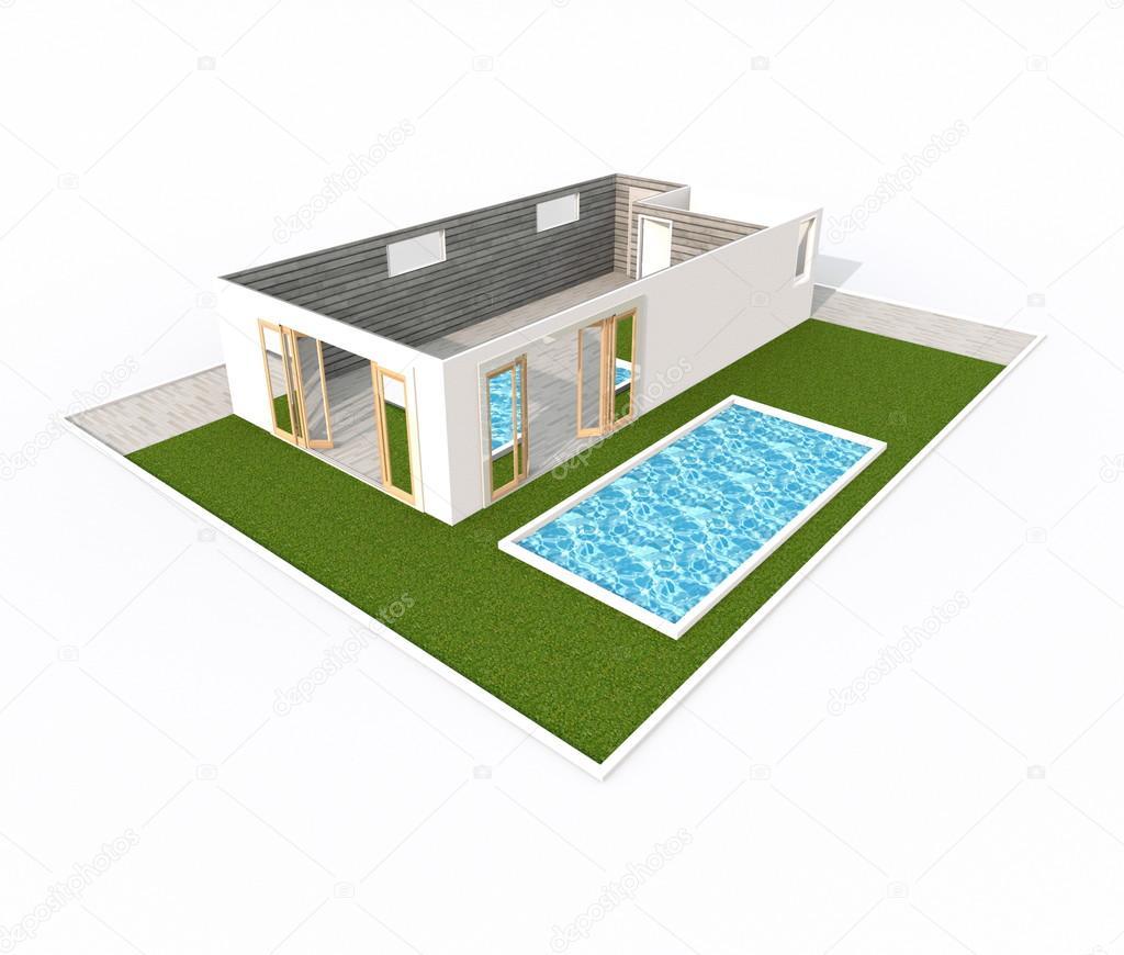 Rendering 3d della casa appartamento con piscina e for Design della casa con piscina