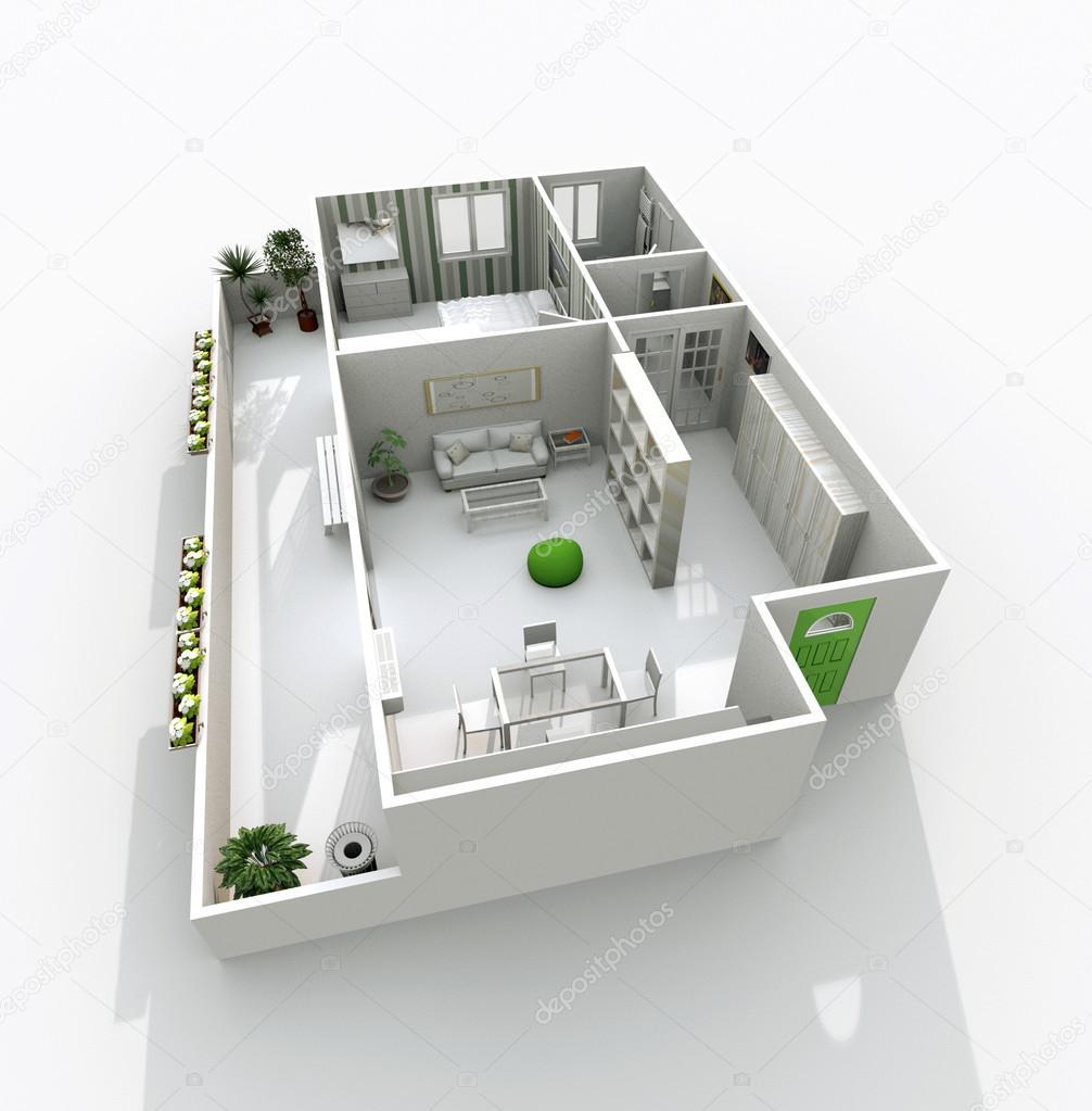 3d arredamento casa appartamento con balcone foto stock for Arredare casa 3d