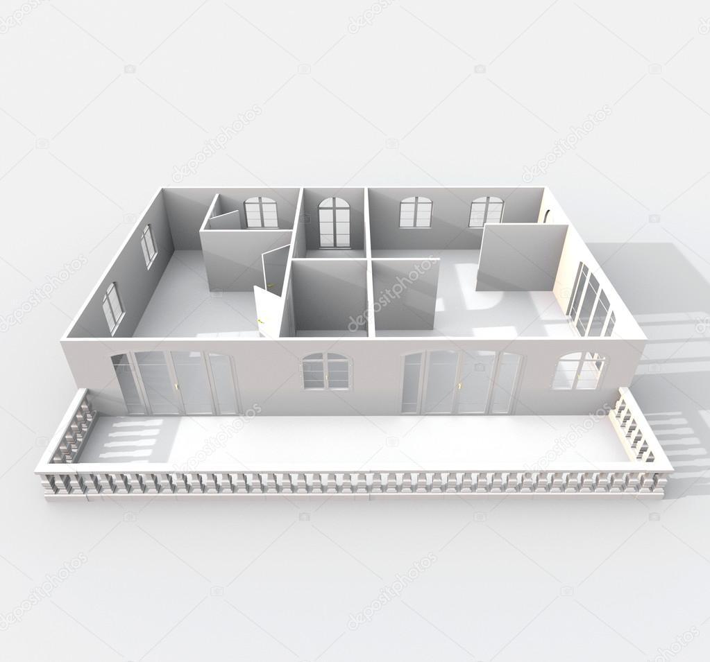 3d модель 5ти этажный жилой дом серии 1-464, fbx, скачать.