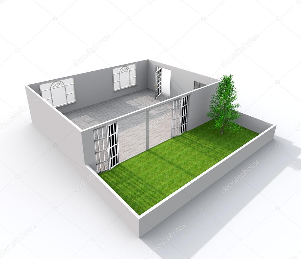 3d interior rendering of oblique paper model apartment for Com apartment model