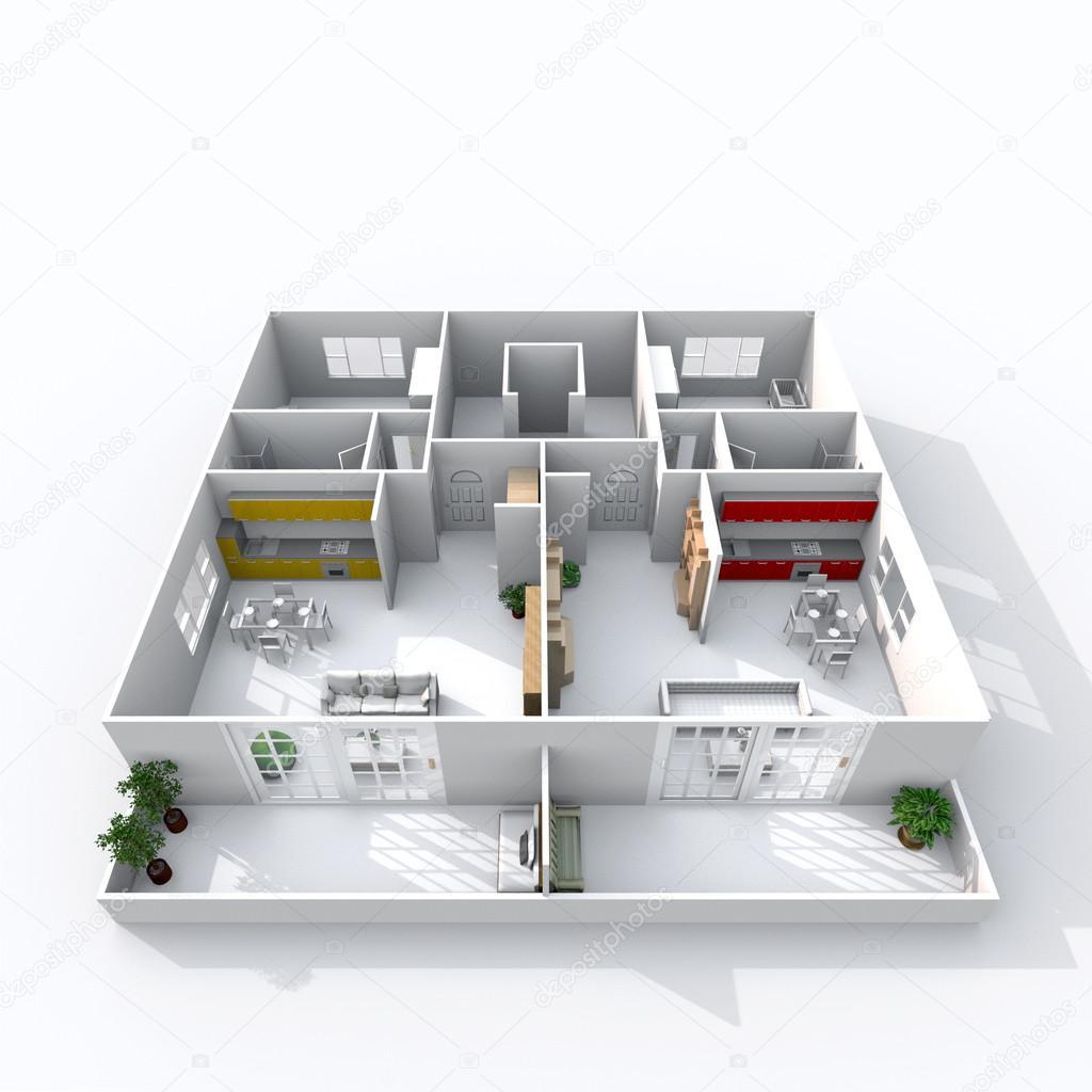 3D BELSŐÉPITÉSZ látványterv dupla berendezett otthon apartman ...