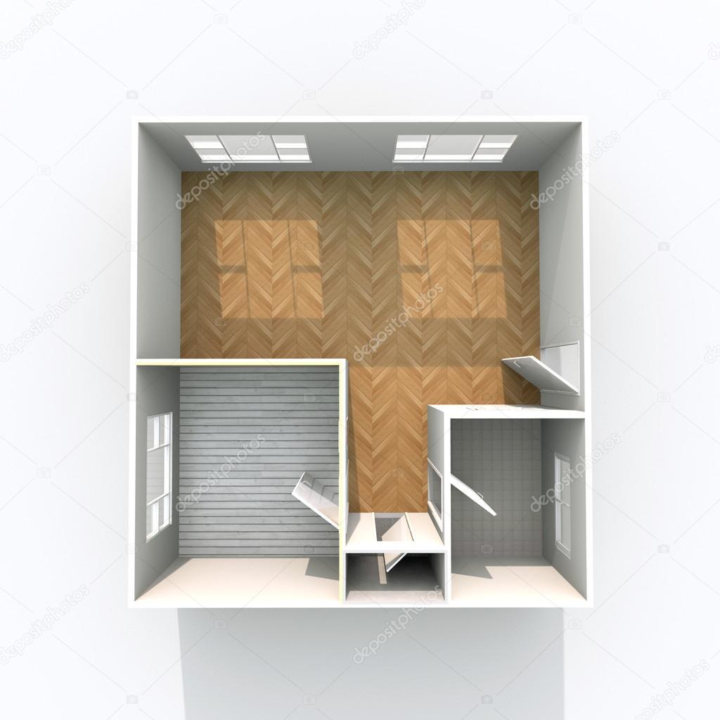 Strålande 3D-interiör rendering av hem utan tak lägenhet med golvmaterial ZP-21