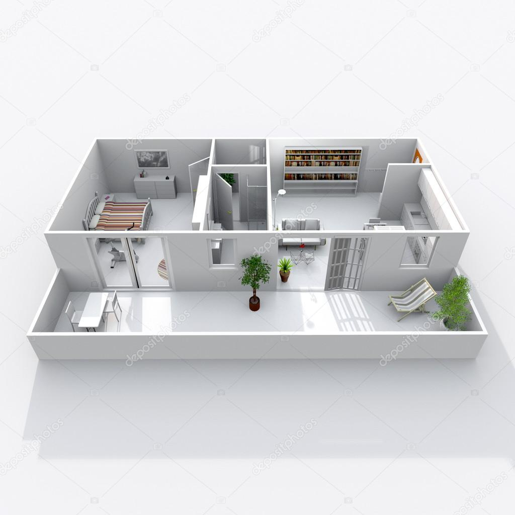 Rendering 3d interni di casa obliquo appartamento con for 3d interni