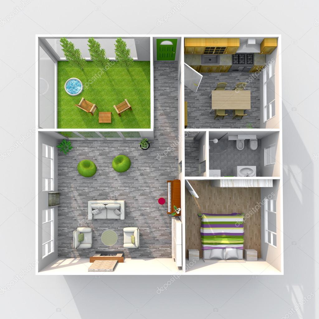 Rendering 3d interni di appartamento arredato casa con for Piani di casa interni con foto