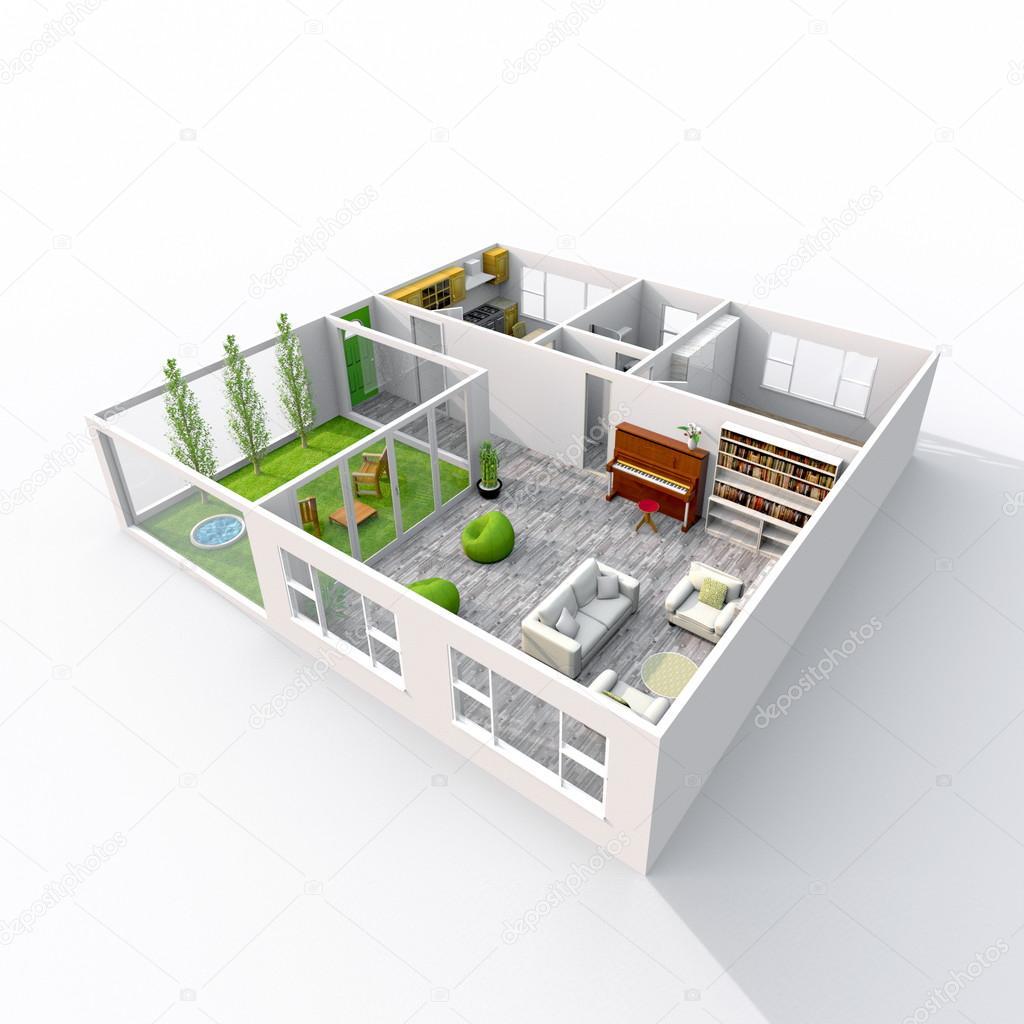 Rendu 3d dintérieur meublé maison avec véranda chambre salle de bains chambre à coucher cuisine salon hall entrée porte fenêtre balcon image
