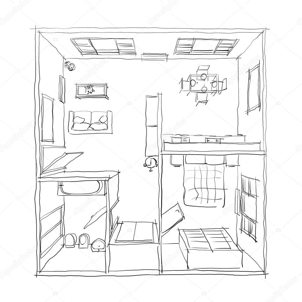 3d freehand tekening illustratie van ingerichte appartement kamer badkamer slaapkamer keuken woonkamer hal entree deur venster balkon foto van