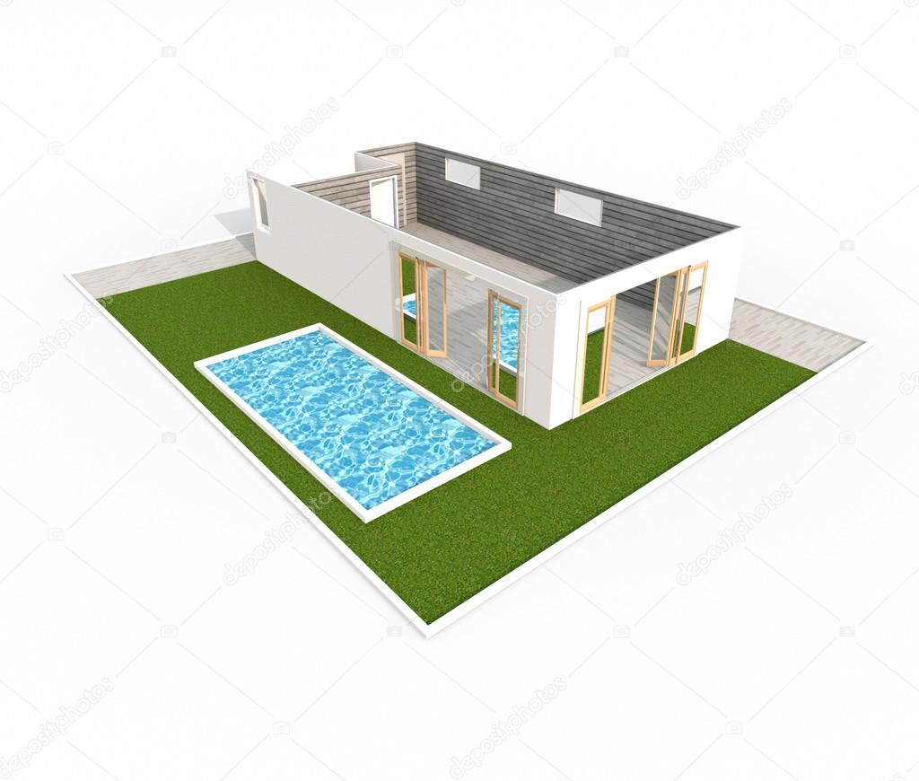 3d rendering intrieur de vide appartement maison avec jardin et piscine photo